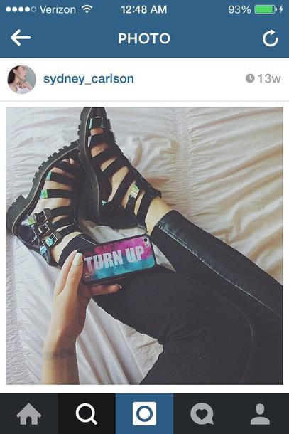 shoes dark holographic sandals buckled buckled sandals gladiators
