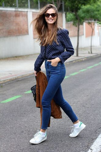 shoes sunglasses blue and white polka dot shirt jeans brown jacket white sneakers blogger