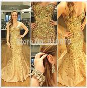 dress,prom dress,evening dress,crystals evening dress,beaded party dresses,champange prom dress,mermaid prom dress
