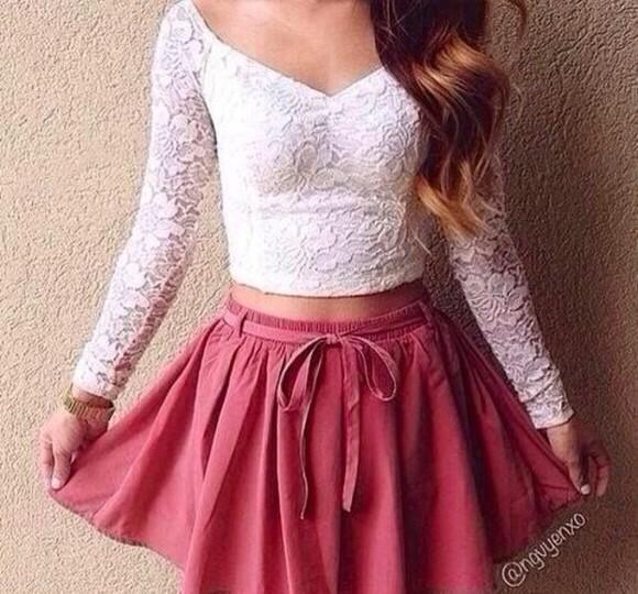 lace print v neck long sleeves skirt high waisted skirt belted high waisted skirt