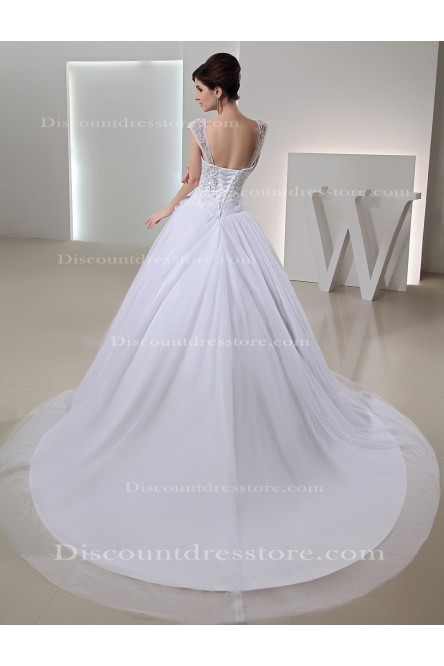 Cheap Organza Ball Gown Beading/Sequins Square Wedding Dress