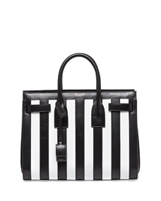 Saint Laurent Sac de Jour Striped Small Carryall Bag, Black/White