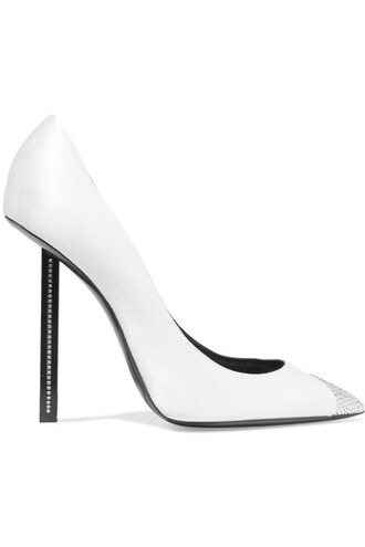 embellished pumps white satin off-white shoes