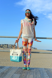 nycpretty,blogger,sunglasses,tote bag,pants,printed scarf,see through,white blouse,printed leggings,quote on it,loafers
