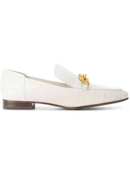 Tory Burch horse women loafers leather white shoes