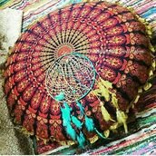 home accessory,multimatecollection,indian round pillow,cheap pillow,yellow ruffle,peacock,round cushion