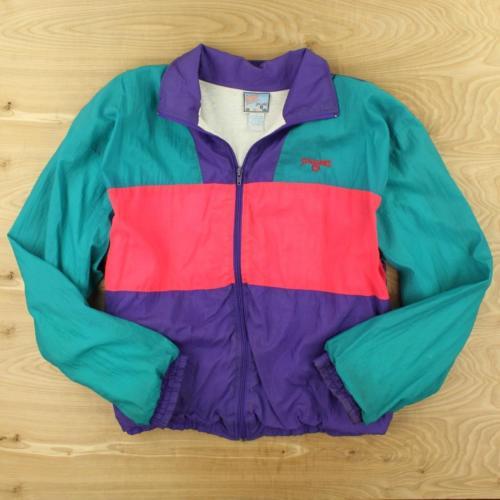 info for b8ba5 3a998 Vtg 90 s Spaulding Colorblock Windbreaker Jacket Large Teal Neon Hot   eBay