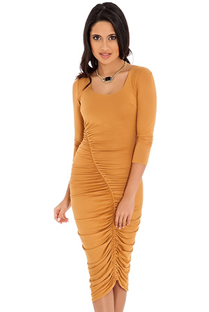 Quarter Sleeve Ruched Jersey Midi Dress