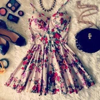 dress girly pretty bralette floral dress clothes vintage floral short white dress with flowers fleurs flowers pink skirt jeans sunglasses jacket nail polish