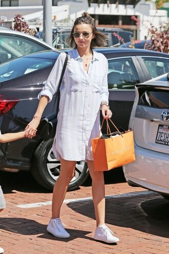 dress miranda kerr shoes bracelets purse round sunglasses t-shirt dress mini dress button up long sleeves long sleeve dress white sneakers