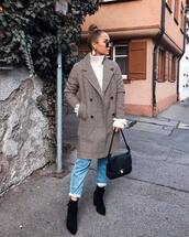 coat,double breasted,checkered,jeans,ankle boots,suede boots,black boots,shoulder bag,turtleneck,turtleneck sweater,sunglasses,earrings