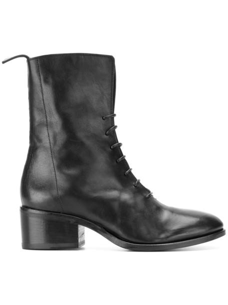 Measponte women boots leather black shoes