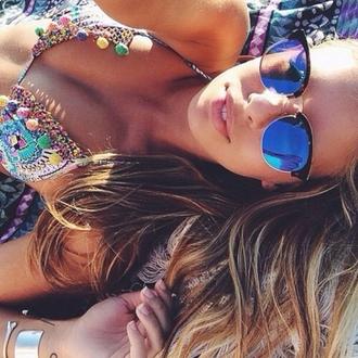 top bikini bikini top fringes hippie gypsy colorful beach sunglasses towel