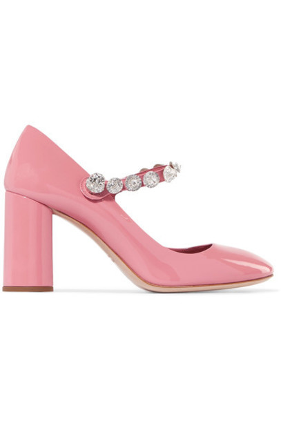Miu Miu embellished pumps leather pink shoes