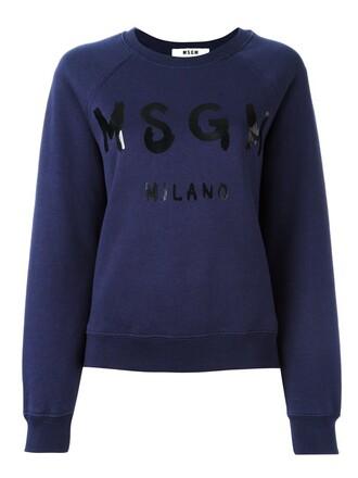 sweatshirt print blue sweater