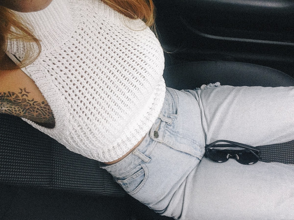 tank top jeans shirt white knit knit shirt