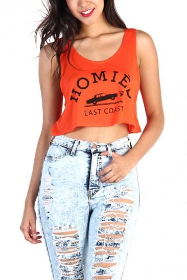 LoveMelrose.com From Harry & Molly | Homie Crop Tank Top - Orange