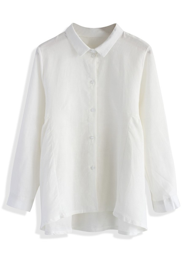 chicwish dolly shirt flare and pleats white shirt