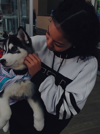 sweater stripes tyla wolf hoodie wolftyla black and white