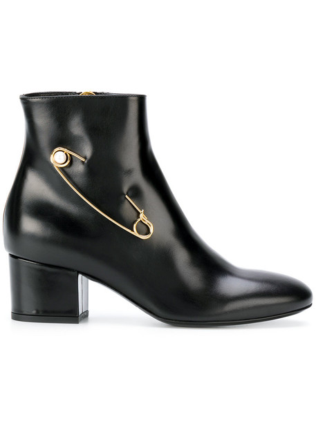 Coliac women ankle boots leather black shoes