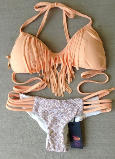 swimwear peach snake print frilly bikini