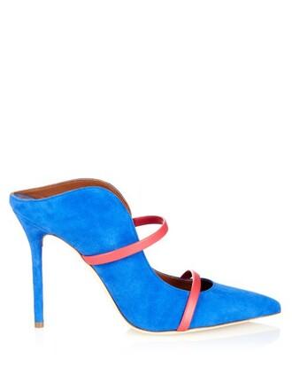 mules suede blue shoes