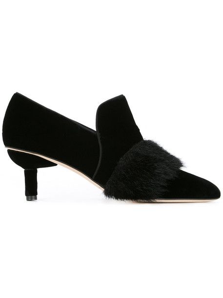 SANAYI 313 women pumps leather black velvet shoes