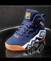 shoes,fila,blue sneakers,high top sneakers
