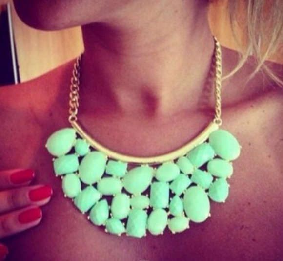 green mint green jewels necklace big gold
