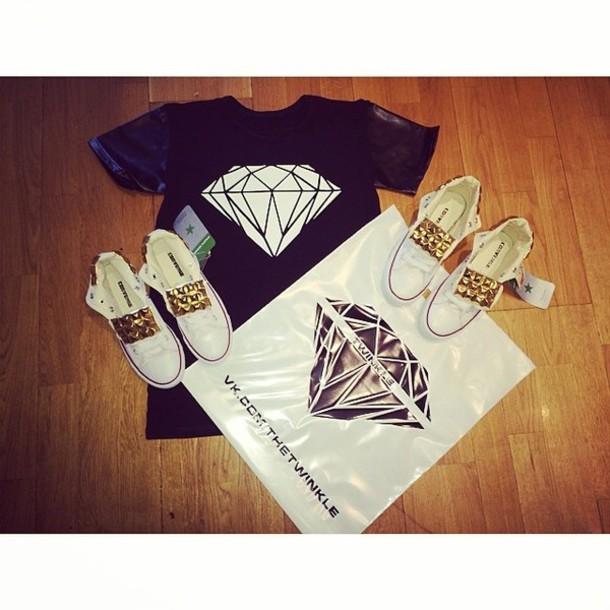 shoes twinkle converse diamonds stud leather t-shirt white black