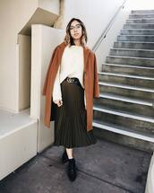 skirt,tumblr,coat,camel,camel coat,pleated,pleated skirt,midi skirt,belt,logo belt,gucci,gucci belt,sweater,white sweater,clear sunnies,winter outfits,fall outfits,outfit idea,cute outfits,clear lens sunglasses