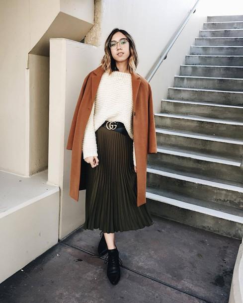 b784484e56 skirt, tumblr, coat, camel, camel coat, pleated, pleated skirt, midi ...