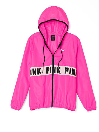 jacket windbreaker victoria's secret pink by victorias secret pink coat pink ? pink windbreaker cute