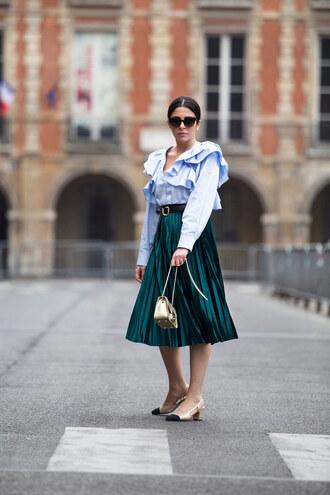 skirt pleated skirt midi skirt metallic skirt chanel chanel pumps shirt ruffle shirt blogger blogger style crossbody bag