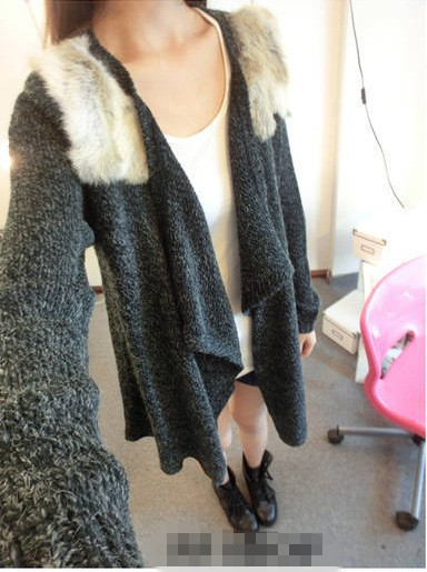 New Fashion Rabbit Fur Patchwork Medium long Black Grey Cardigan -inCardigans from Apparel & Accessories on Aliexpress.com