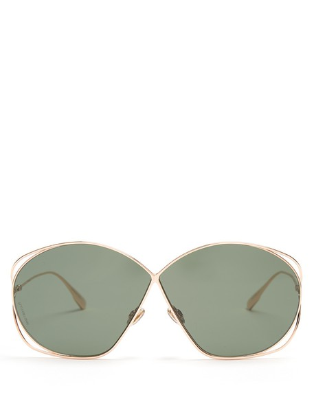 dior oversized metal sunglasses gold