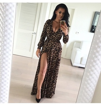 dress long dress cute dress outfit shoes style fashion high heels black heels accessories earrings leopard print slit dress sexy dress long sleeves long sleeve dress