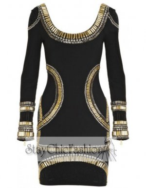 Black Long Sleeves Bandage Dress With Gold Stone [Black Long Sleeves Gold] - $99.00 : Cheap Bodycon Dresses Under $100