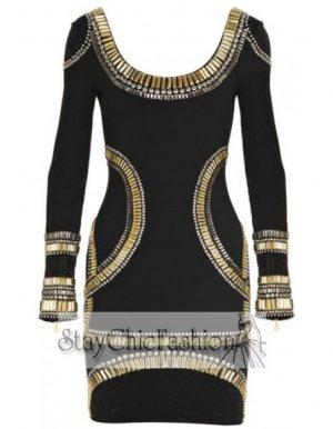 Black Long Sleeves Bandage Dress With Gold Stone [Black Long Sleeves Gold] - $99.00 : Cheap Bodycon Dresses Under $100