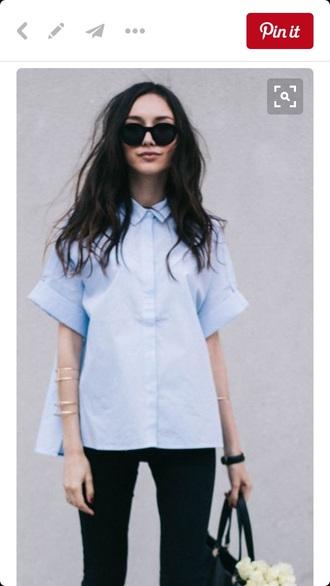 shirt blue collar button up cute pretty