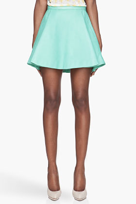 Balmain Mint Green Pleated Leather Skirt for women | SSENSE