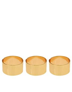 ASOS   Juego de tres anillos ajustables con banda lisa de ASOS en ASOS
