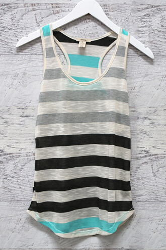 tank top top shirt stripes blue black grey racerback amazinglace summer summer shirt