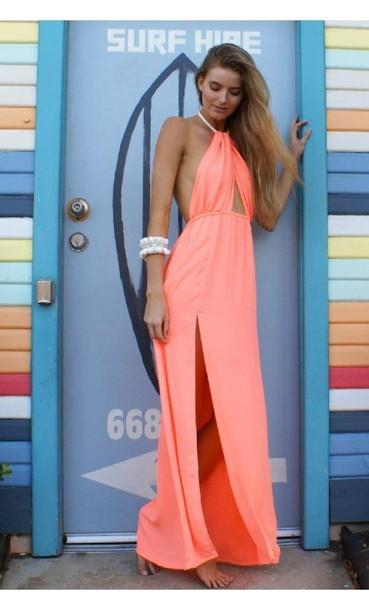 sale new cheap new arrival coral maxi dress, halter top maxi, split front maxi, rope tie maxi ...