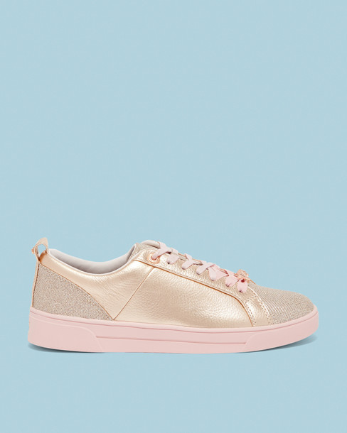 sneakers. glitter rose gold rose sneakers gold leather shoes