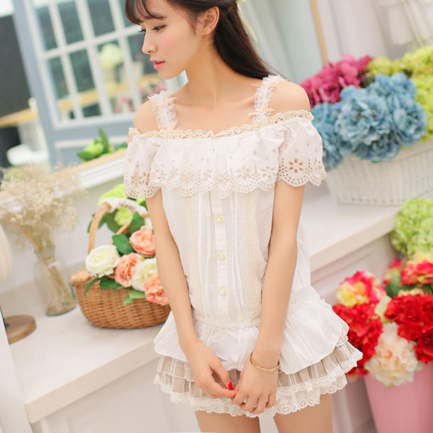 Dress Girly White Cute Style Lace Spring Top Skirt