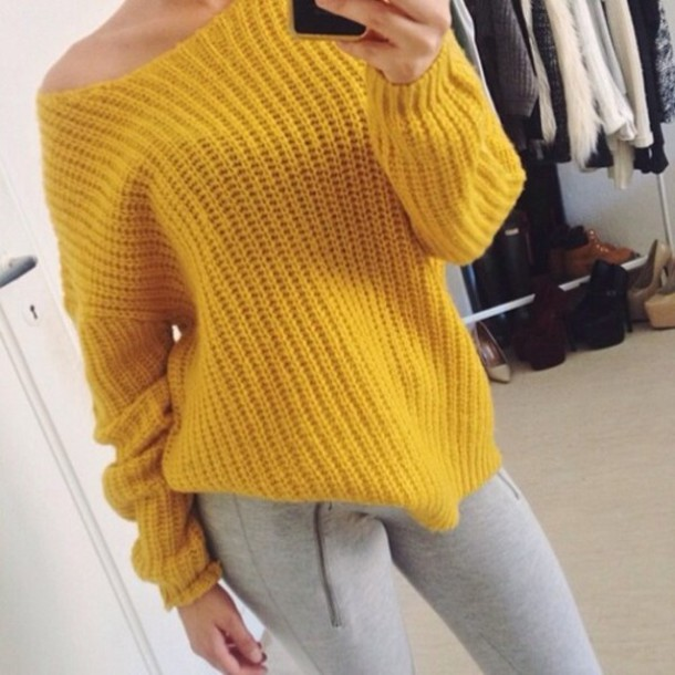 Shirt: sweater, yellow, knit, knit shirt, yellow sweater, yellow ...