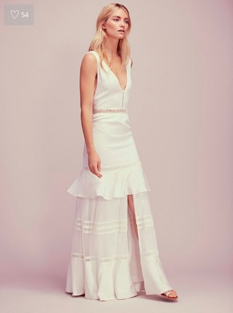 dress long prom dress white dress boho dress