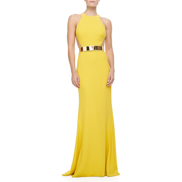 Stella McCartney Sleeveless Golden-Belt Gown - Polyvore