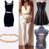 leather dress,black dress,denim jacket,gold belt,white jumpsuit,sylvi label
